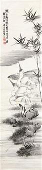 浅汀白鹭 by li shijun