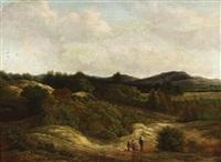 weite landschaft mit rastenden wanderen by adrianus serne
