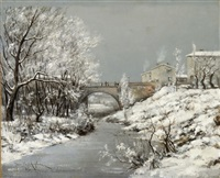winterliche landschaft mit brücke by jean paul anglade