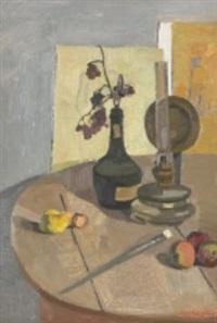 stilleben med frukter samt flaska by sven ljungberg