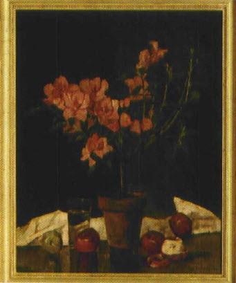 stilleben mit azalée im topf und äpfeln by anton kurmaier