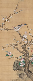 plum flower and birds by zi shan