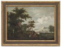 figures resting near a river bank by continental school (19)