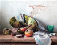 still life of sweet chestnuts, apples and a pan by robert chailloux