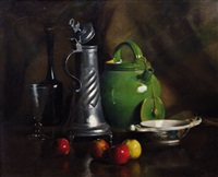 stilleben mit zinnkrug, langhalsflasche, glaspokal, fayencekrug, schale mit äpfeln by franck antoine bail