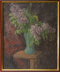 lilacs in a vase by georges bouche