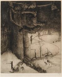 weer klept de dood over vlaandrenland - le glas au-dessus des flandres - marchande de vieilleries, gand (2 works) by jules de bruycker