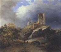 landschaft mit einer burgruine und einem jäger by pierre louis dubourcq