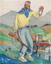 cazador y una joven con una cesta (2 works) by félix arteta