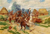 cossacks fighting prussian cavalry officer by stanislaw jankowski