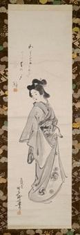 über die schulter blickende geisha by gyokusho kawabata