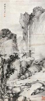 深山飞瀑图 (landscape) by luo mu (lo mou)