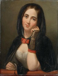 bildnis einer jungen dame mit maske by josef cornelius correns