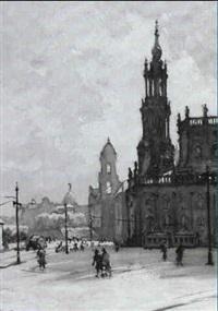 theaterplatz in dresden mit hofkirche und altem schloss by rudolf pöschmann