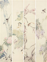 花鸟 (bird and flowers) (in 4 parts) by ren heng