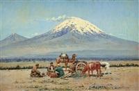 kaukasische landschaft mit kamel und karren by constantin andrejewitsch ssomoff