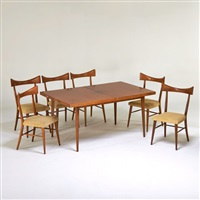 extension dining table and six side chairs by paul mccobb
