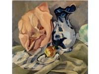 stilleben mit blau-gemustertem krug und frucht in einem teller auf getreiftem tuch (+ sketch of another still life, verso) by rudolph konsten