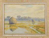 marsh with haystacks by george w. picknell
