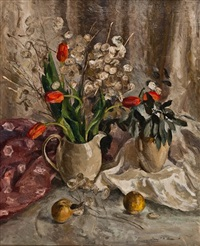 still life with tulips, honesty & apples by mary p. r. allan