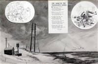 original illustration for punch magazine of the wind in the telegraph wires by r. p. lister by ernest h. shepard