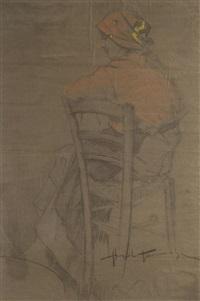 donna seduta by angiolo tommasi