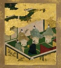 untitled (darstellung von zwei höfischen szenen) (2 works) by japanese school (17)