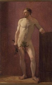 modelstudie af en ung mand med en gren i hånden by hans jörgen hammer