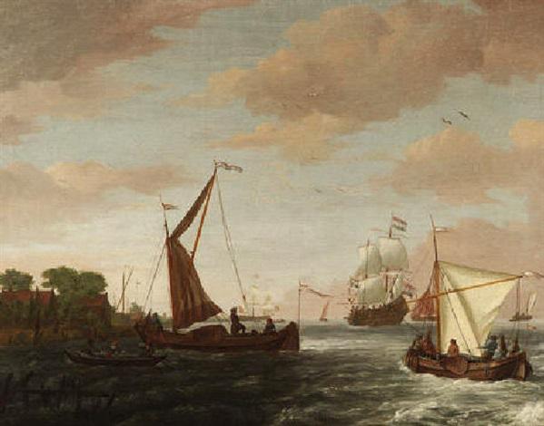 marine statenyacht fischerboote und eine holländische kriegspinasse in einer flußmündung by adam silo