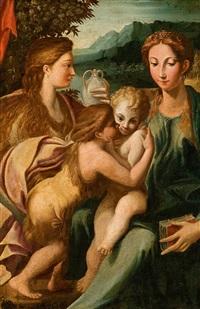 maria und elisabeth mit ihren söhnen jesus und johannes als kinder by parmigianino