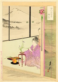 fujin fuzoku zukushi - customs and manners for women (set of 36 oban tate-e) by ogata gekko