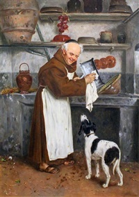 monk washing up with dog onlooking by alessandro sani