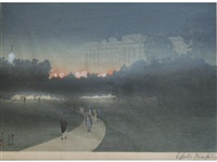 green park with buckingham palace beyond by yoshio markino