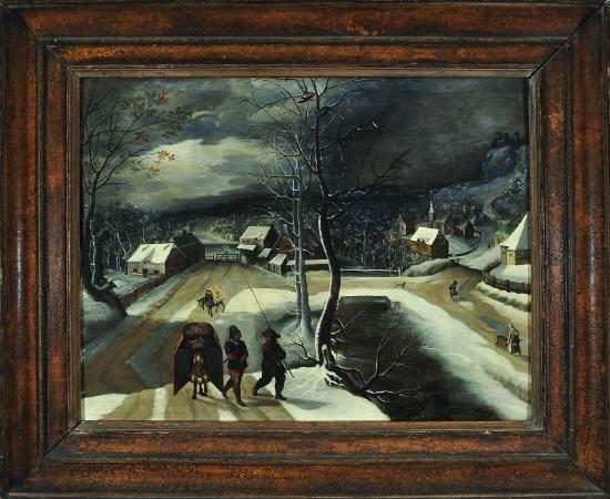 zwei landsknechte mit lastpferden schreiten durch ein dorf in einer winternacht by abel grimmer