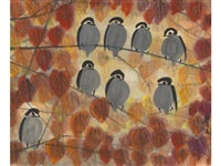 birds perched on branches by lin fengmian