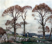 shepherd tending his flock at twilight by a. moulton foweraker