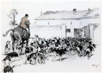 huntsman and hounds beside the kennels by cecil charles windsor aldin