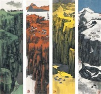 万里江山 镜片 设色纸本 (4 works) by xiao yingchuan