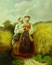 to piger i egnsdragt på en markvej by julia charlotte mortana strömberg
