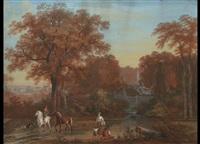 herbstliche parklandschaft mit kaskadenbrunnen, brunnenfiguren und personenstaffage by louis gadbois