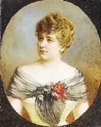 porträt einer jungen dame mit chiffontuch und anemonen by vincze kabàth