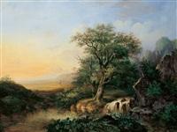 landschaft mit wasserfall by cristianus hendricus de swart