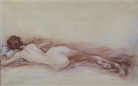 reclining female nude by stephen ward