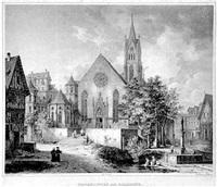 überlingen. blick auf die hauptfassade der kirche by andreas borum