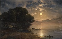 evening landscape with a lake by alexandre calame