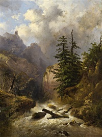 a moutainous landscape with a stream and pine by alexandre calame