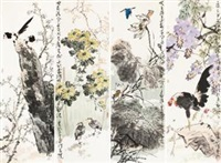 四季花卉 (flowers and birds) (4 works) by jia baomin