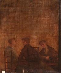 militares y tertulianos, probablemente del café de levante de madrid (pair) by leonardo alenza y nieto