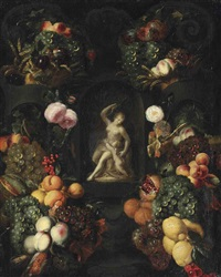 a sculpture of venus and amor, surrounded by a garland of roses and fruit by alexander coosemans