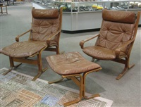 siesta lounge chairs and ottoman (pair) by ingmar anton relling